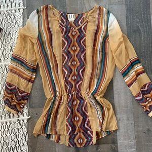 Haute Hippie Tops - Haute Hippie Sheer Tribal Print Tunic Top